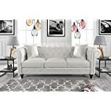 Divano Roma Furniture Classic Living Room Bonded Leather Scroll Arm Chesterfield Sofa (White), Large