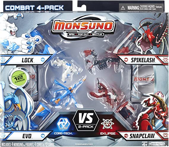 Monsuno Serie 1 - 4 Core Combat Pack with Lock #01, Evo #09, Spikelash #08, Snapclaw #13, 4 Cores and 12 Cards by Monsuno: Amazon.es: Juguetes y juegos