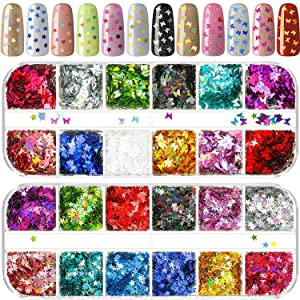 2 Packs Nail Sequin Nail Glitter Sequins Mixed Paillettes Holographic Nail Art Sparkly Glitter Sheets Tips Manicure Nail Decoration for Nail Crafts Face Eyes Body (Butterfly, Star)