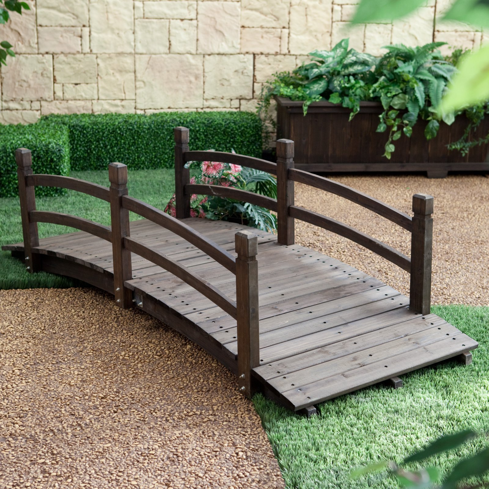 Espresso Brown Finish Wood 72'' Garden Bridge Outdoor Yard Lawn Landscaping Decor