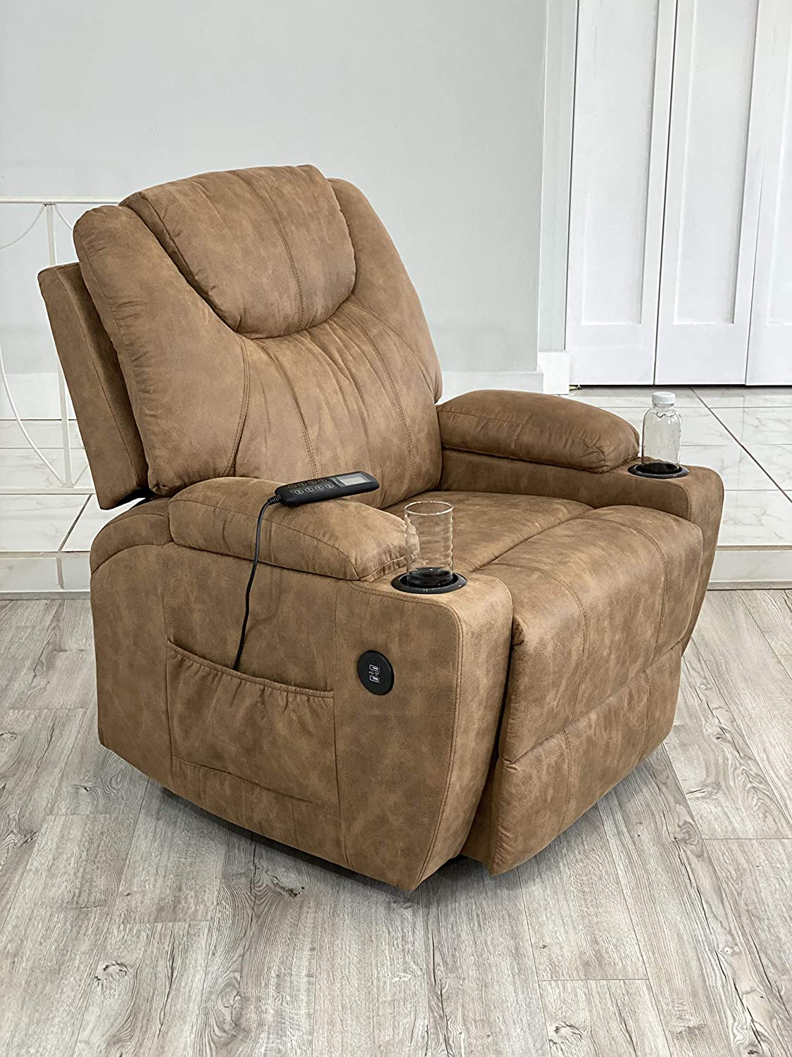 Lifesmart Power Lift Chair with Heat and Massage - Brown