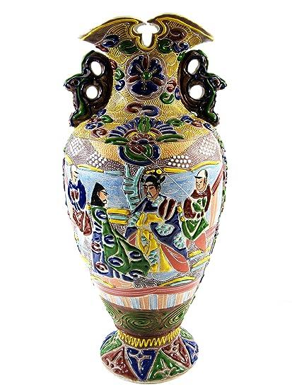 Amazon Vase Satsuma Moriage Japanese Dragon Handled 14 78
