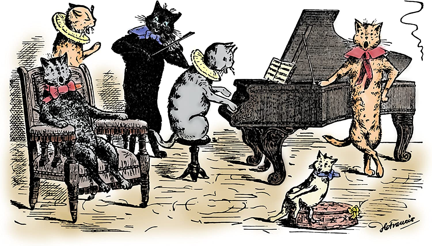 Amazon Com 8x10 Fine Art Print Singing Cats A Victorian Era Fine Art Color Print From The Cheerful Cats Perfect For A Children S Room Or Nursery Room Size 8x10 Inches Posters Prints