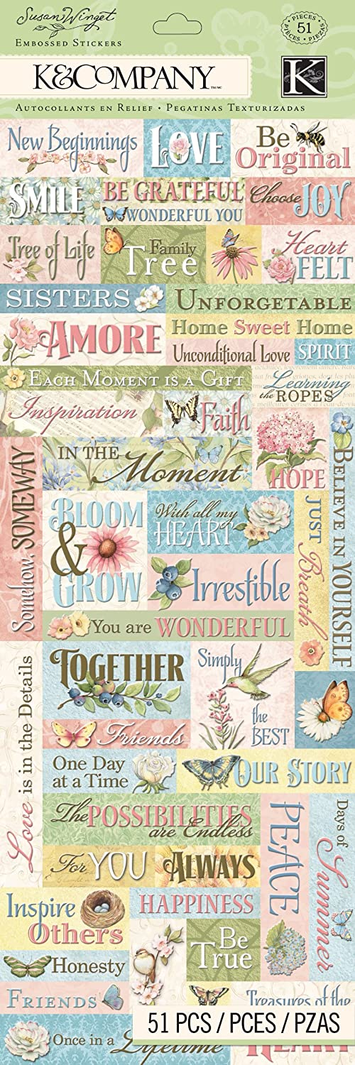 K/&Company Floral Word Embossed Sticker by Susan Winget