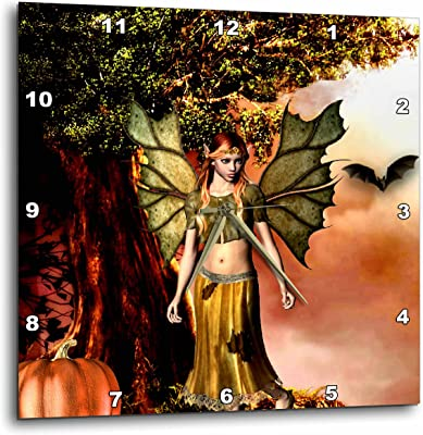 3dRose Renderly Yours Autumn And Halloween - Autumn Fairy At Harvest - 13x13 Wall Clock (dpp_269420_2)