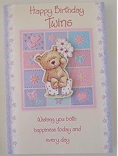 twins 1st first birthday card tiny feet hands glitter foil detail