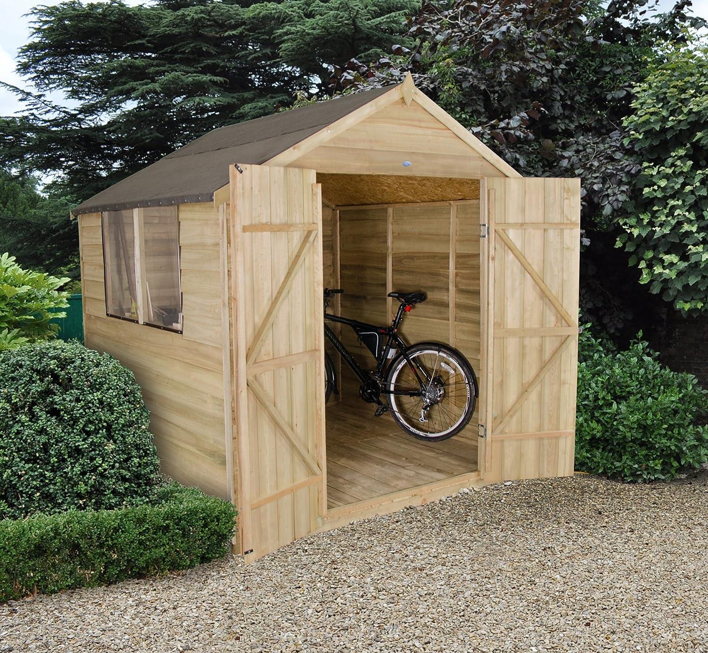 Apex Gartenhaus Druck behandelt 7 x 7 Holz Schuppen Doppeltür ...