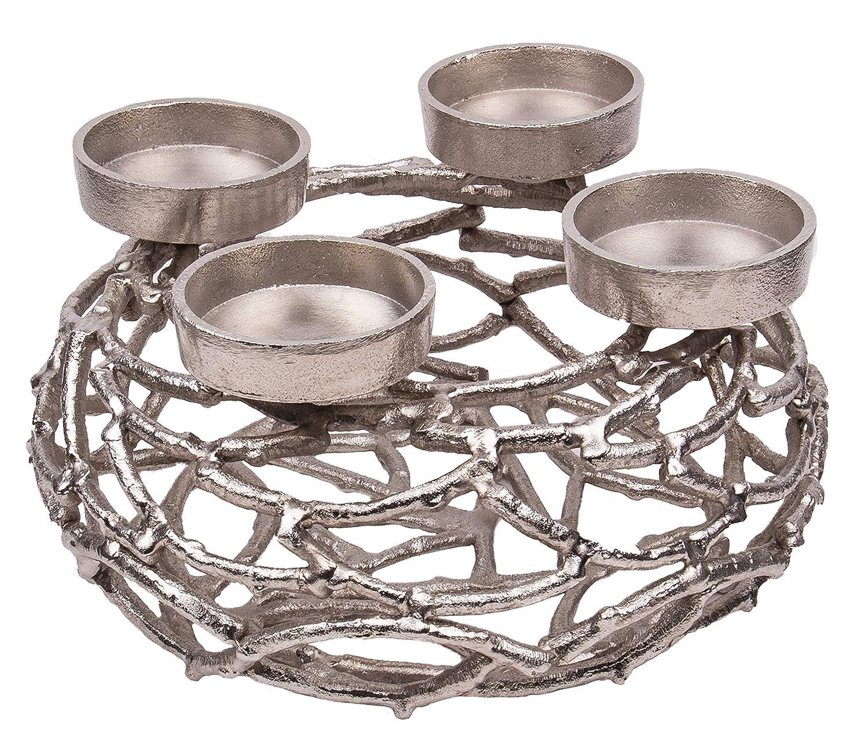 Kunstversteck Design Kerzenleuchter Silber, massiv Metall Advents-Kranz 28cm, zum Befüllen und Dekorieren Kerzenhalter Weihnachten