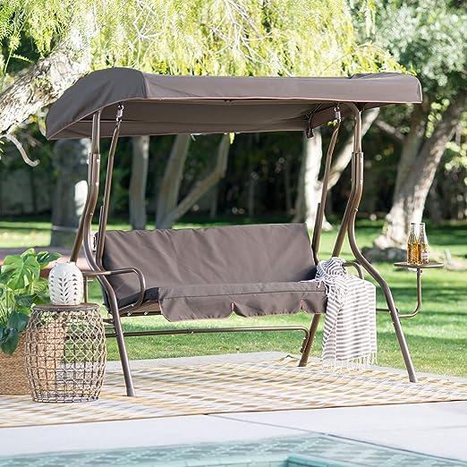 Resistente Coral Coast Lakewood 2 persona inclinación ajustable Swing de metal Canopy con mesas laterales: Amazon.es ...