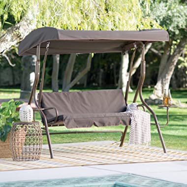 Sturdy Coral Coast Lakewood 2 Person Adjustable Tilt Canopy Metal Swing with Side Tables