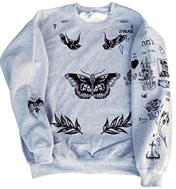 f56a2f08e37c Amazon.com  Harry Styles One Direction UPDATED Tattoos Sweatshirt  Clothing