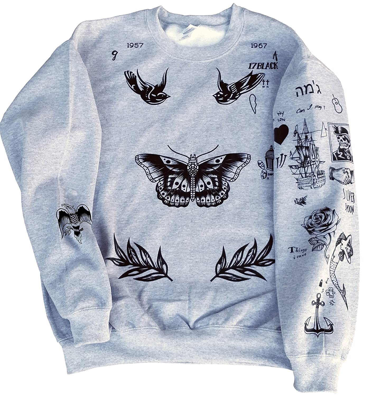 0e787931dc3c Amazon.com  Harry Styles One Direction UPDATED Tattoos Sweatshirt  Clothing