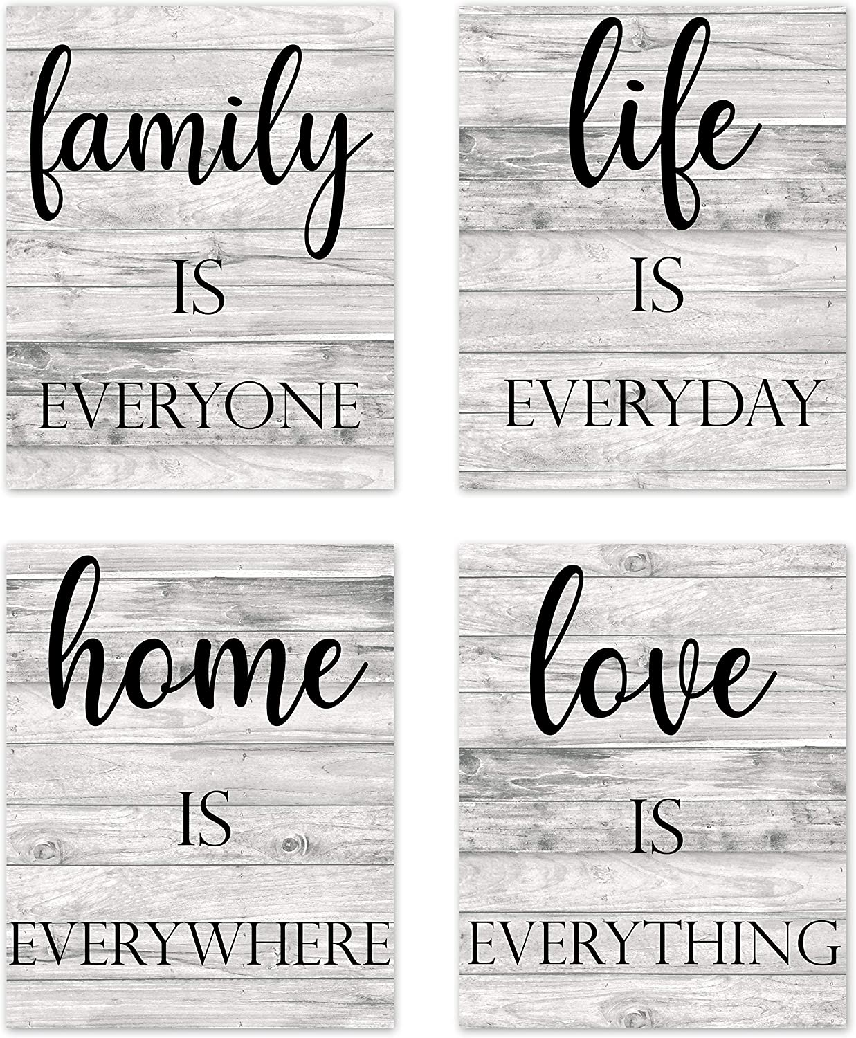 Rustic Farmhouse Family Inspirational Quotes Sayings Wall Art Posters Home Living Room Decor Boho Country Wood Grain Positive Motivational Vintage Pictures Prints Decorations for Bedroom Bathroom