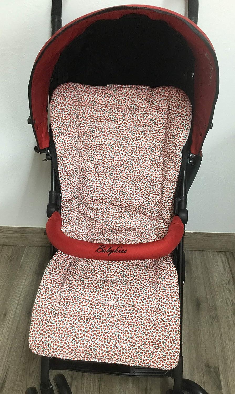 Colchoneta para silla de paseo universal flor roja. Funda silla de ...