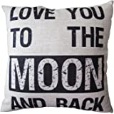 CoolDream Decorative 18*18 Inch Linen Cloth Pillow Cover Cushion Case, Love You To The Moon