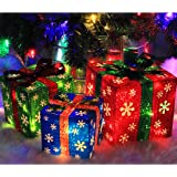 ATDAWN Set of 3 Lighted Gift Boxes Christmas Decorations, Red Green and Blue Present Boxes, Christmas Home Gift Box…