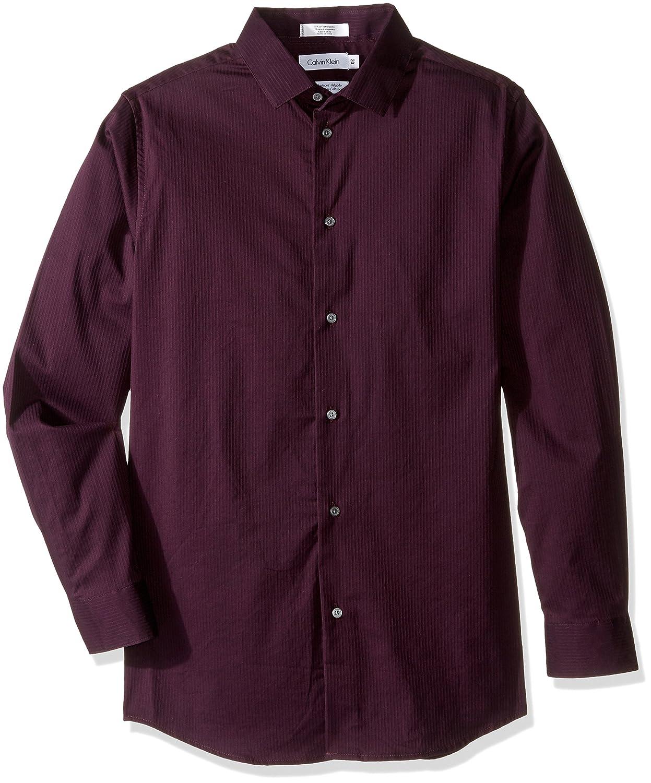 Calvin Klein Boys' Long Sleeve Luster Tonal Stripe Stretch Shirt