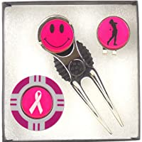 Lady Golfers Pink Marker Gift Set, Includes Stainless Steal Divot Tool/Pitch Repairer, Hat Clip, Poker Chip and 3 Removable Pink Ball Markers Smiley Face, Lady Golfer, White Ribbon Exciting New gift Ideas from Mercia Golf !