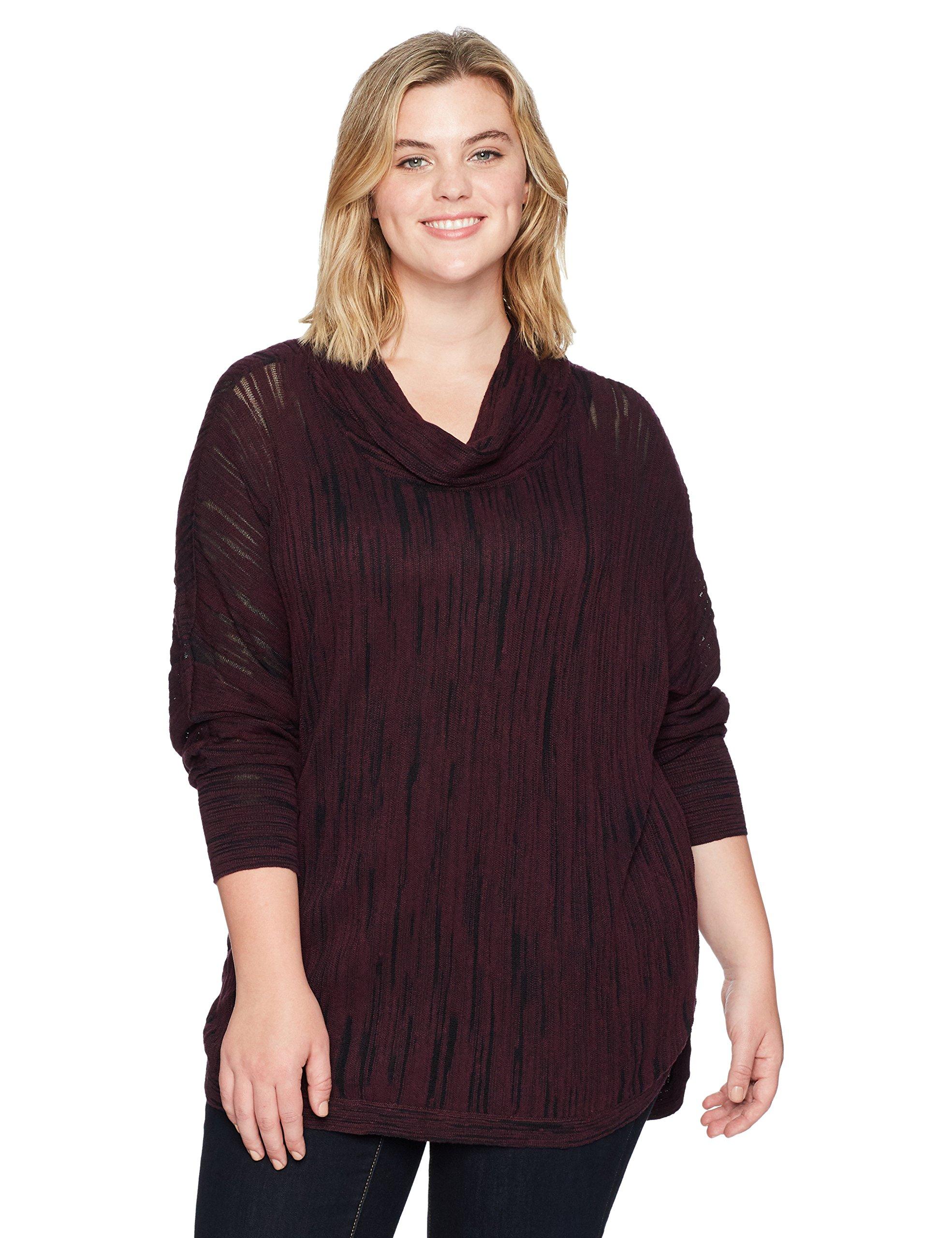 NIC+ZOE Women's Plus Size Cowled Knit Top, Wine, 2X