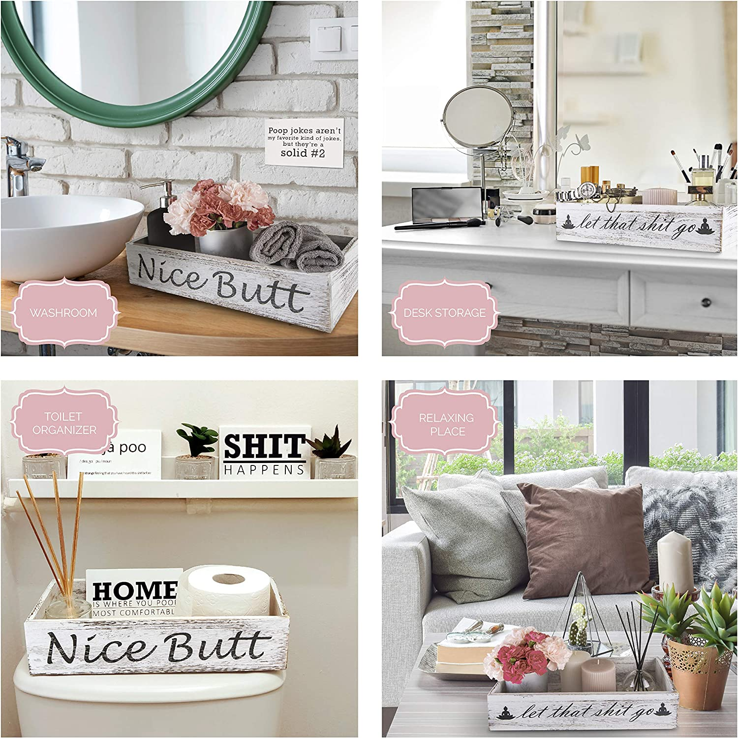 Bathroom Decor Box /& Wall Art Signs Toilet Paper Storage White Bathroom Signs Rustic Bathroom Decor Nice Butt /& Let That Sht Go 2 Sides with Funny Sayings for Farmhouse Home Decor