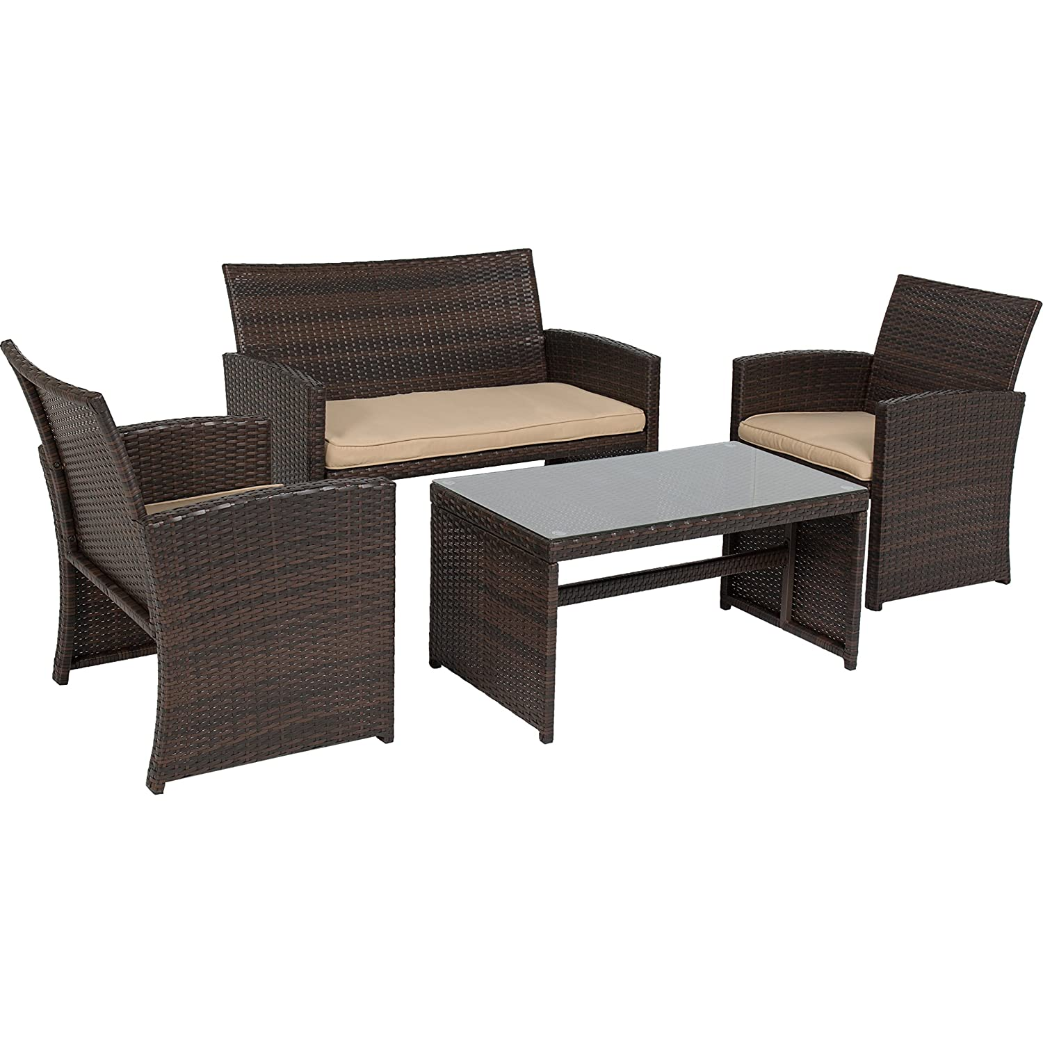 Amazon.com : Best Choice Products 4pc Wicker Outdoor Patio Furniture Set  Custioned Seats : Garden U0026 Outdoor