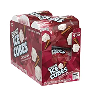 Ice Breakers Ice Cubes Sugar Free Gum with Xylitol, Cinnamon, 40 Count, Pack of 6