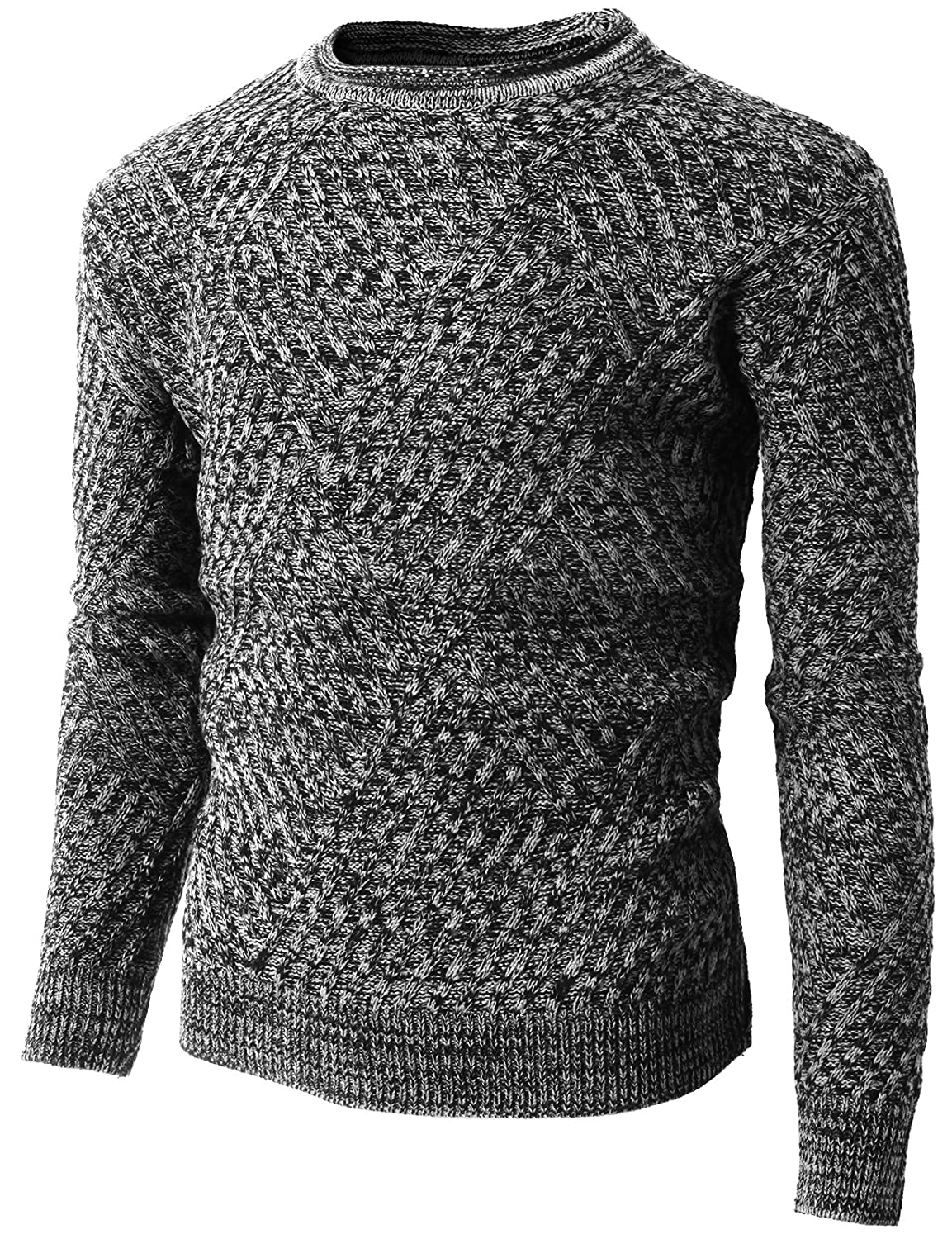 H2H Mens Fashion Casual Slim Fit Long Sleeve Crew-Neck Jumpers