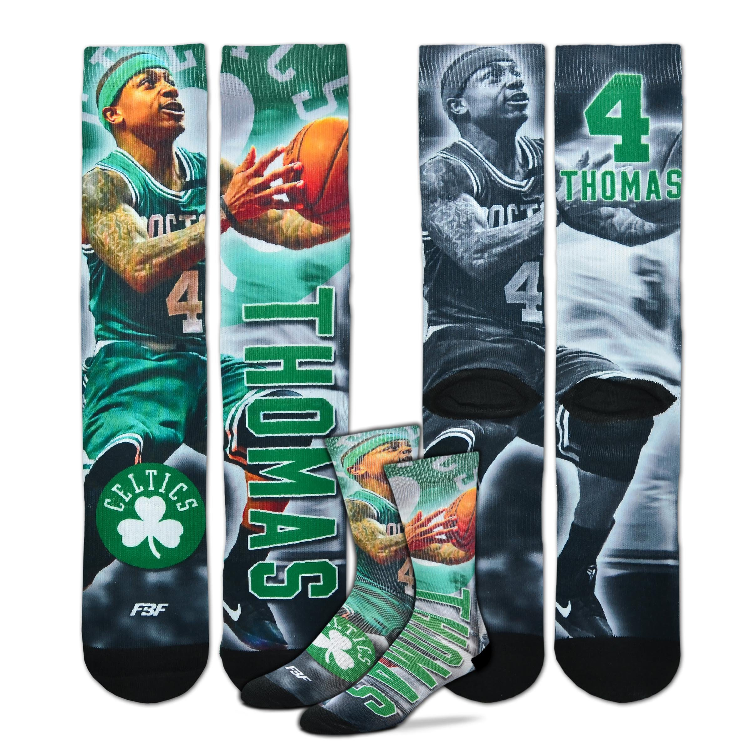 Isaiah Thomas Boston Celtics NBA Drive Crew Socks Men's Size Medium 5-10 by For Bare Feet