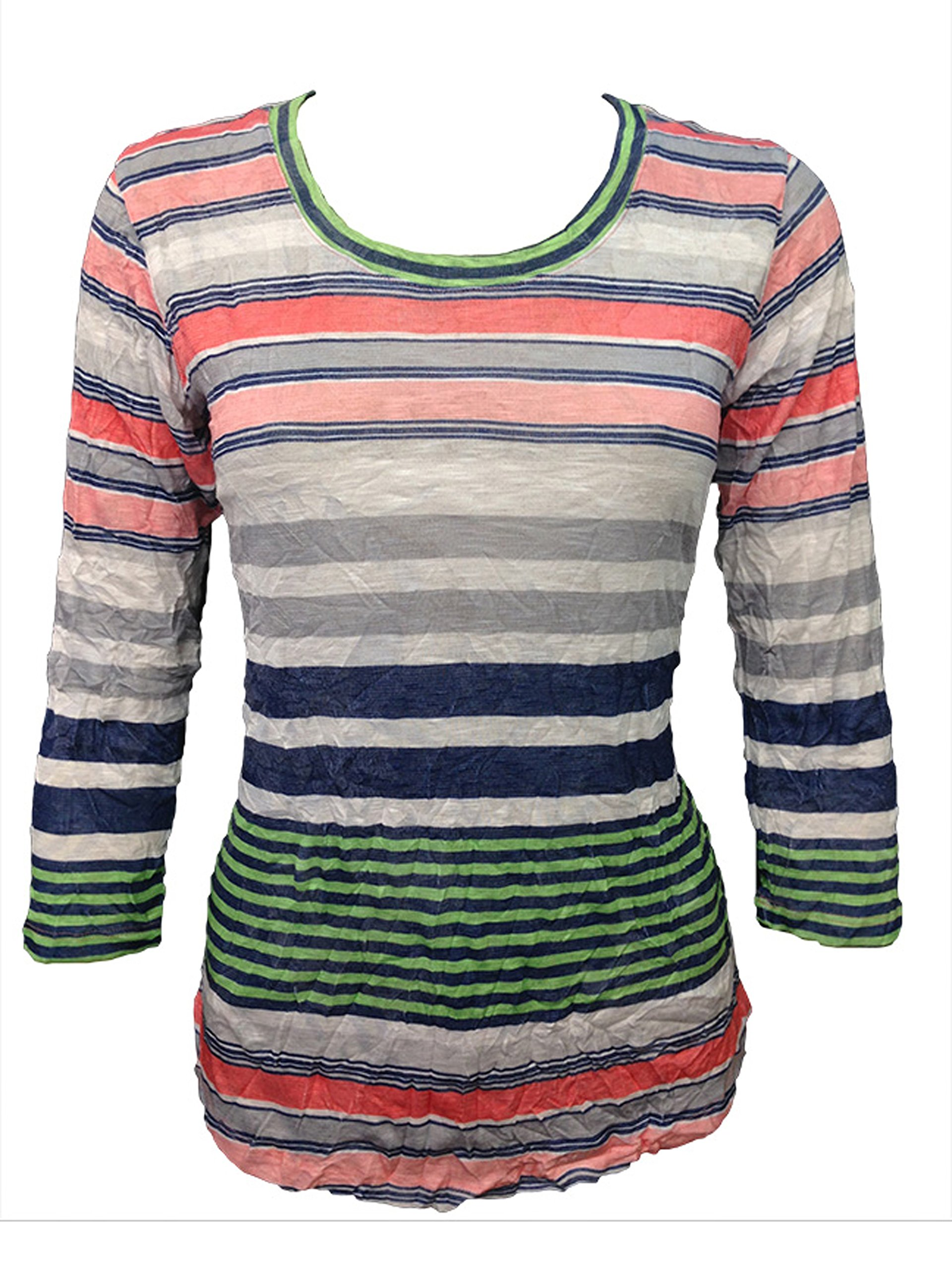 David Cline Woman's Crew-Neck Crushed Shirt. Super Soft Stretchy Fabric. Bright Design.