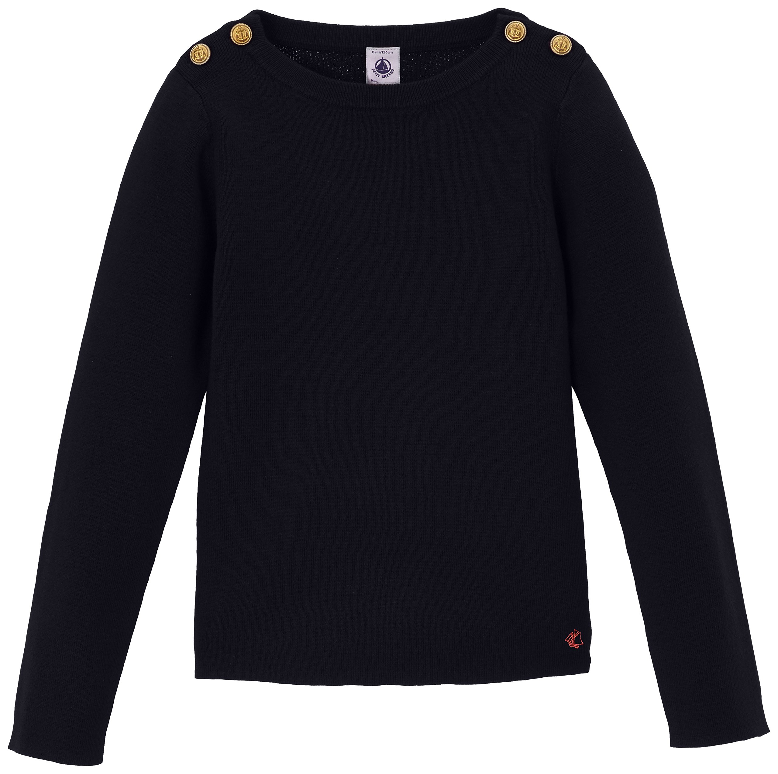 Petit Bateau Girl's Sweater with Gold Buttons, 10A
