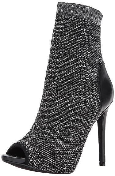 GUESS Women's Abri Peep Toe Dress Pewter Booties - 8.5 ...