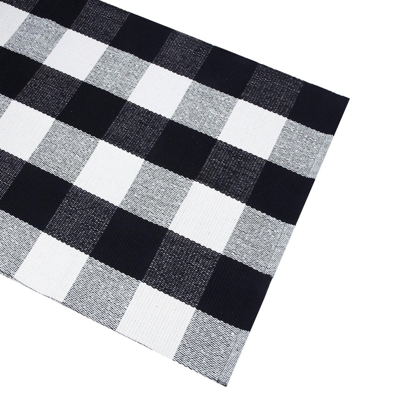 Braided Rug For Living Room: PRAGOO Cotton Rug Hand-woven Checkered Carpet Braided