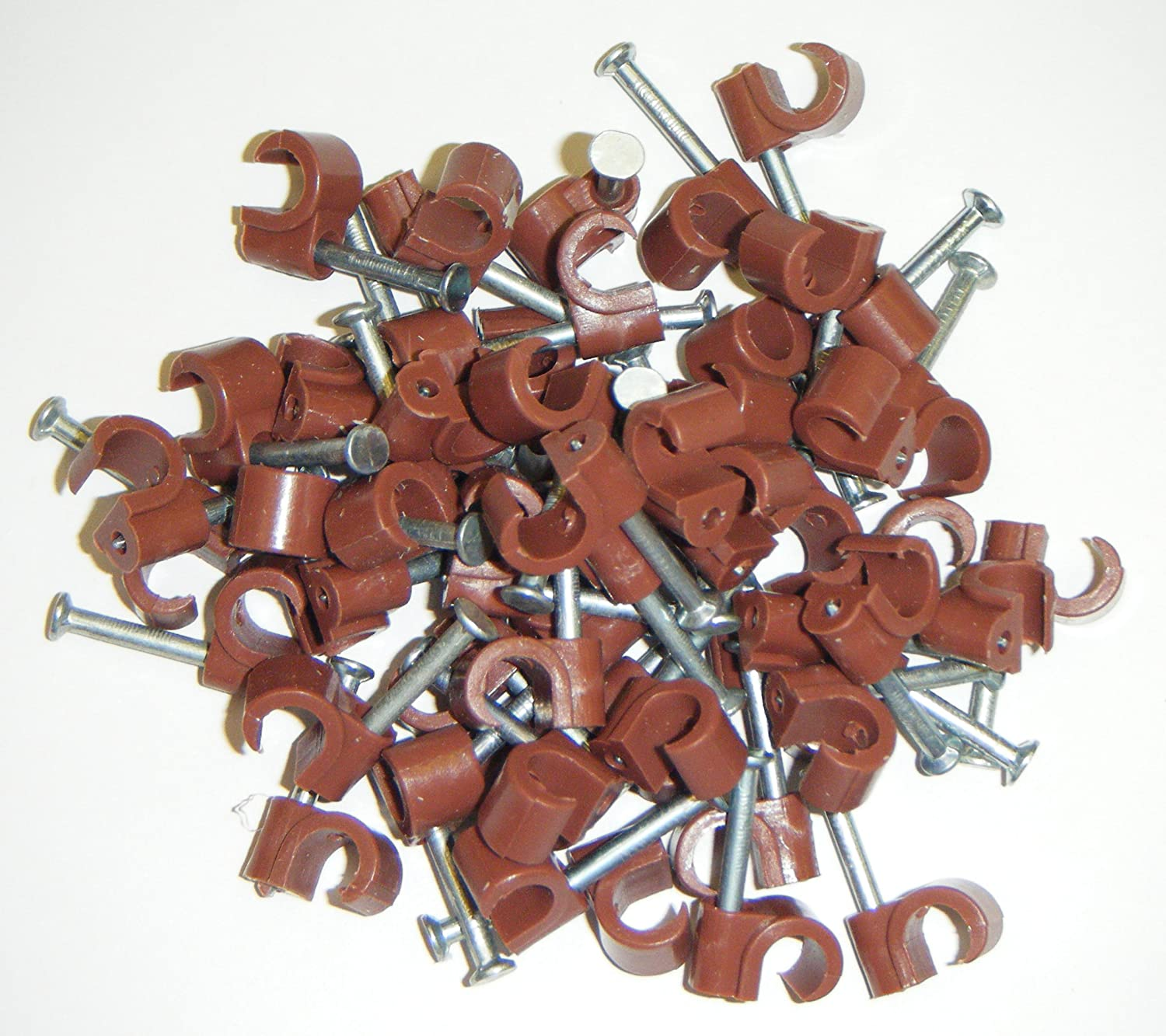 100 x BROWN 7mm ROUND WIRE CABLE CLIPS COAXIAL AERIAL COAX SATELLITE TV