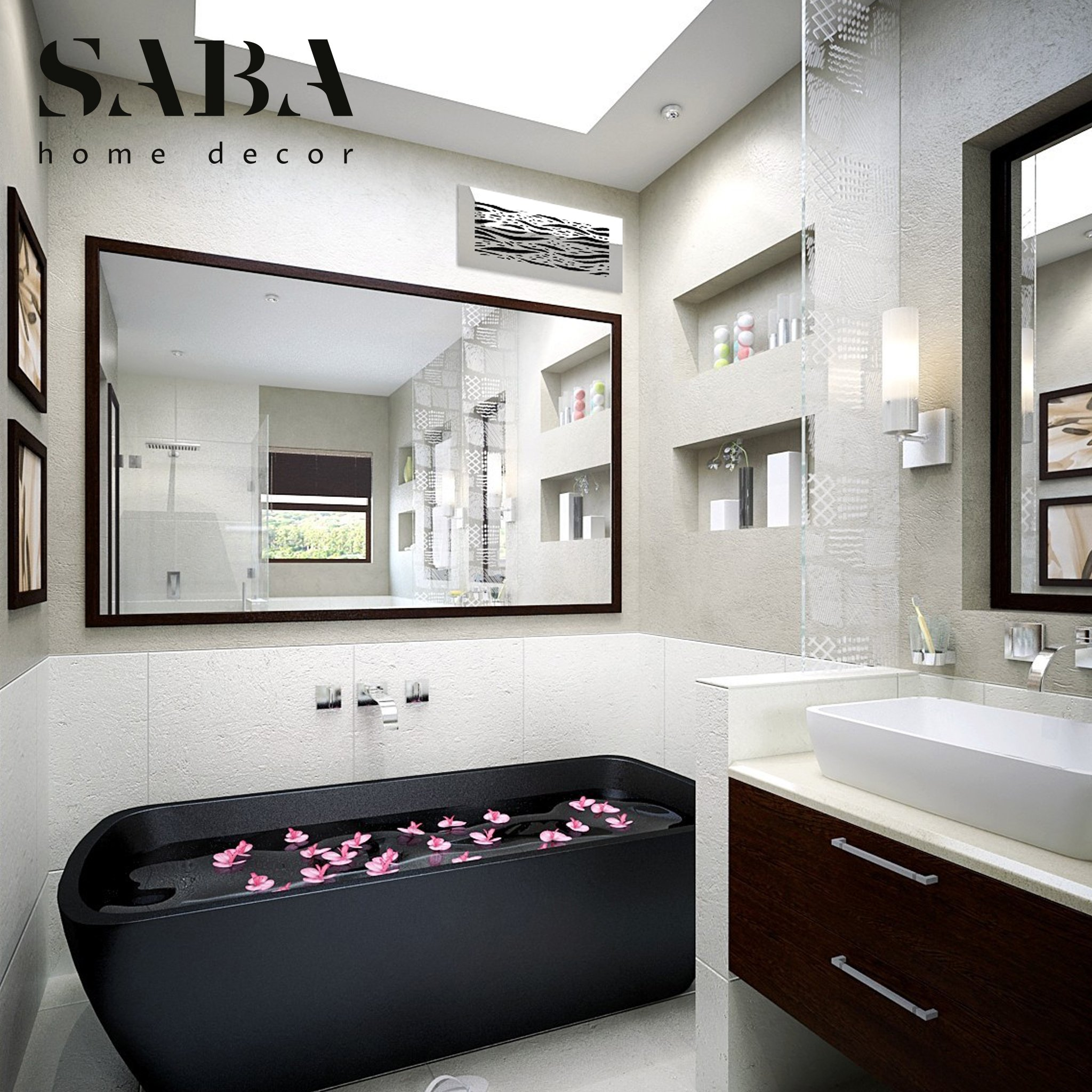 Saba Air Vent Covers Register - Acrylic Fiberglass Grille 10'' x 6'' Duct Opening (12'' x 8'' Overall) Mirror Finish Decorative Cover for Walls and Ceilings (not for Floor use), Waves by SABA Home Decor (Image #6)