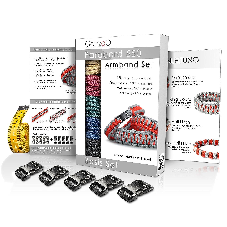 Paracord 550 bracelet set for self-tying, detailed knotting ...