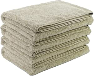 Polyte Microfiber Quick Dry Lint Free Bath Towel, 57 x 30 in, Set of 4 (Beige)
