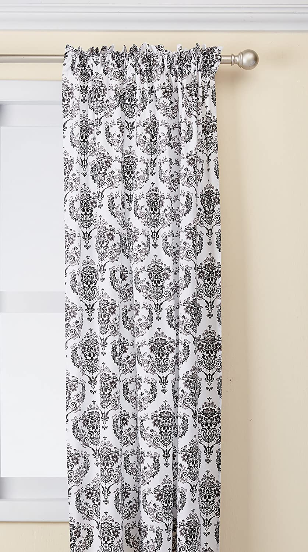 Bacati Classic Damask White/Black Curtain Panel CDBWCP1