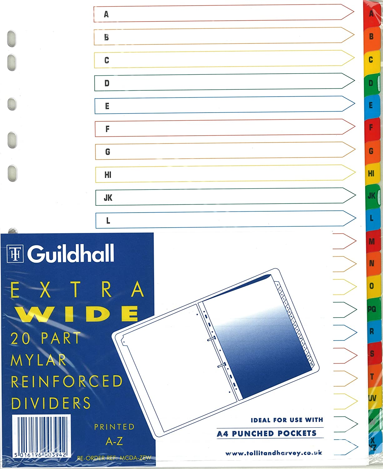 Guildhall A4 Extra Wide Mylar Reinforced A to Z Dividers For Ringbinders