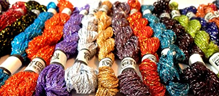 20 x Viscose Metallic Solid Hand Embroidery Thread Skeins Assorted Colours UK