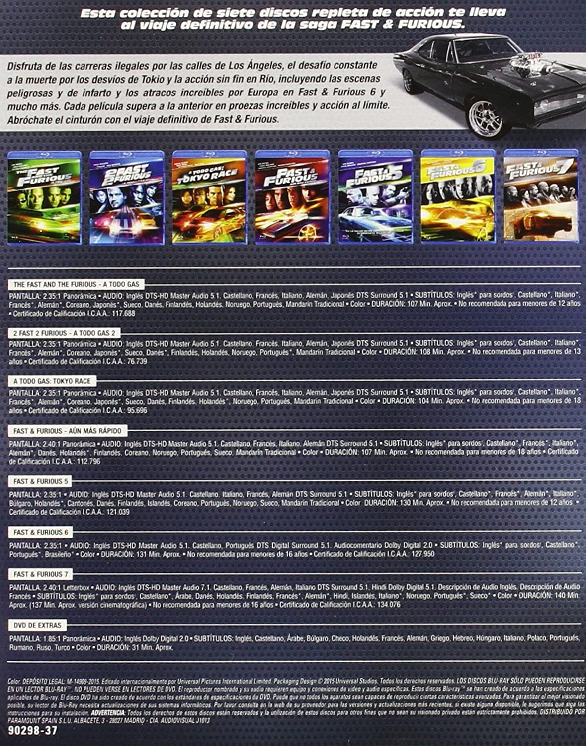 Pack Fast & Furious: Colección 1 - 7 BD + DVD Extras Blu-ray ...