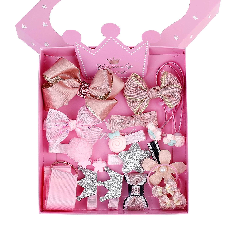 Clips Pinza Pelo Niña Accesorios de Peinado Set Flores Cinta Bowknot Arco Lazos el Cabello Lindo Horquillas 18pcs Rosa MaoXinTek