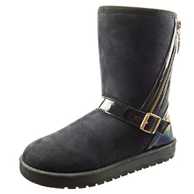 Sopily - Zapatillas de Moda Botines A medio muslo mujer Hebilla cremallera patentes Talón Tacón ancho