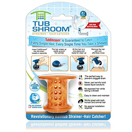 The Revolutionary Tub Drain Protector Hair Catcher/Strainer/Snare, Orange