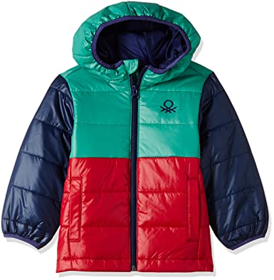 f2a694861272 United Colors of Benetton Boys Hooded Colour Block Quilted Jacket Green 6-7  Years