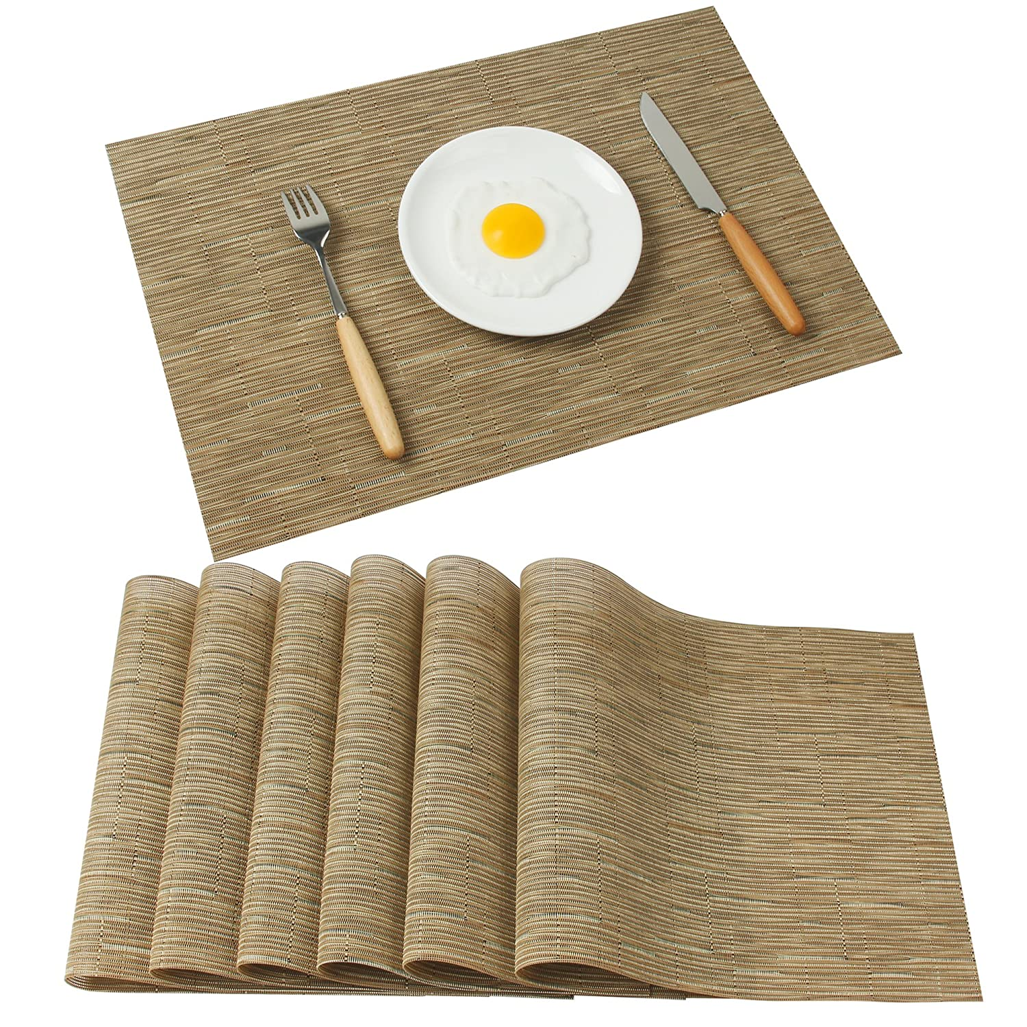 Famibay Bamboo PVC Weave Placemats Non-slip Kitchen Table Mats Set of 4-30x45 cm (Color 6) BZFAM-0010