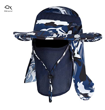 e24427e527c Amazon.com   YR.Lover New Fishing Outdoor Sun Hat with Removable ...