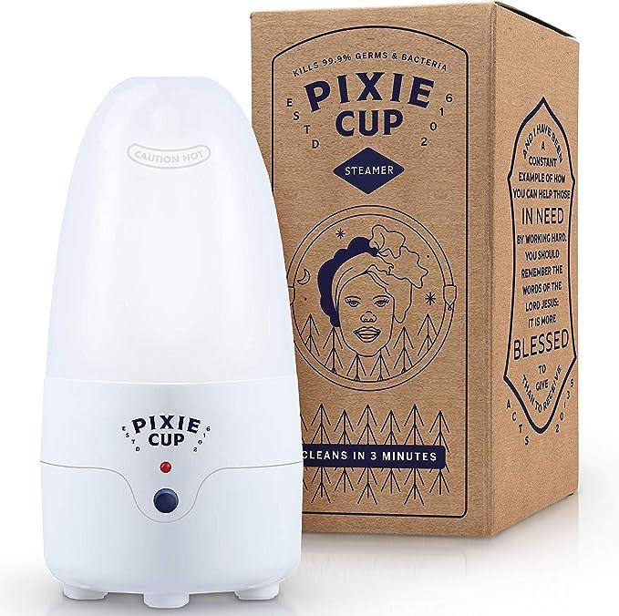 Esterilizador de copa menstrual Pixie para enchufes británicos, mata el 99,9% de los gérmenes con vapor, 3 minutos y tu taza de período está limpia. ...