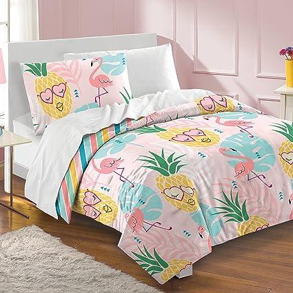 . Dream Factory Pineapple Full Queen Comforter Set  Pink
