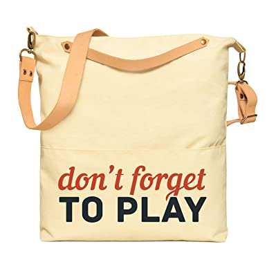 00a474a56d5 Don t Forget To Play Print Canvas Leather Strap Crossbody Messenger Bags  WAS 35
