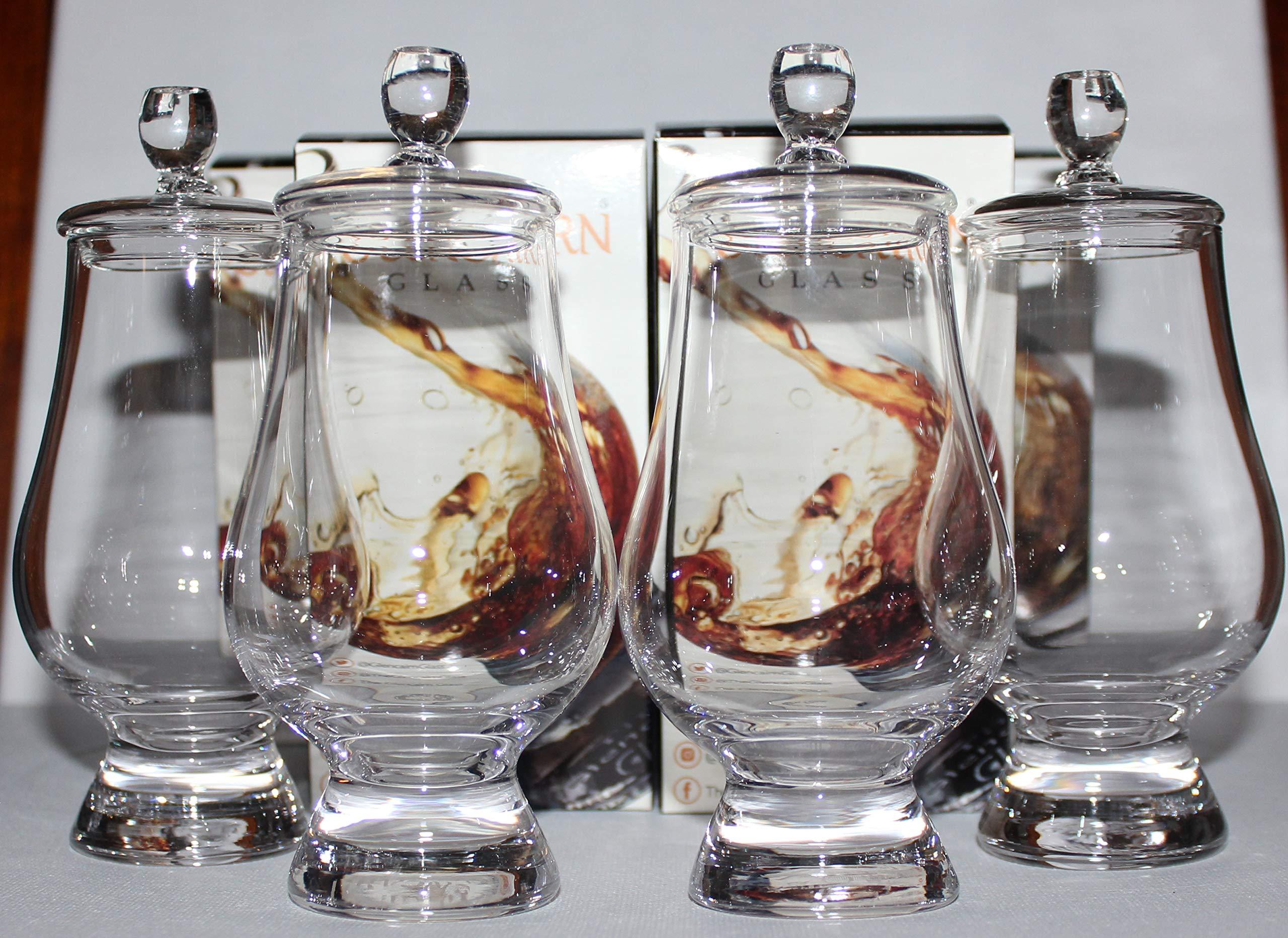 Four Official Glencairn Whisky Glasses With Four Ginger Jar Tops by Glencairn